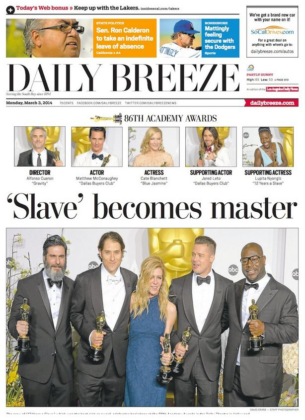 daily-breeze-racist-12-years-a-slave-headline-march-2014